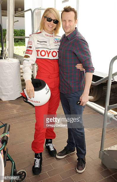 Actors Jenna Elfman and Bodhi Elfman attend the 37th Annual Toyota Pro/Celebrity Race on April 20 2013 in Long Beach California