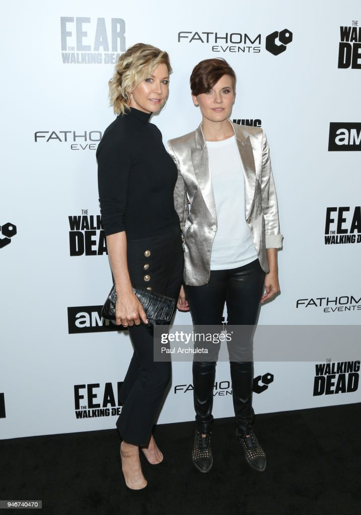Actors Jenna Elfman (L) and Maggie Grace (R) attend 'Survival Sunday: The Walking Dead and Fear The Walking Dead' at AMC Century City 15 theater on April 15, 2018 in Century City, California.