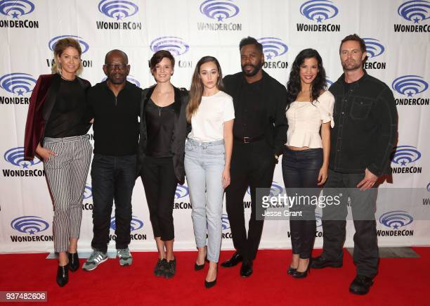 Actors Jenna Elfman Lennie James Maggie Grace Alycia Debnam Carey Colman Domingo Danay Garcia and Garret Dillahunt of AMC's 'Fear of the Walking...