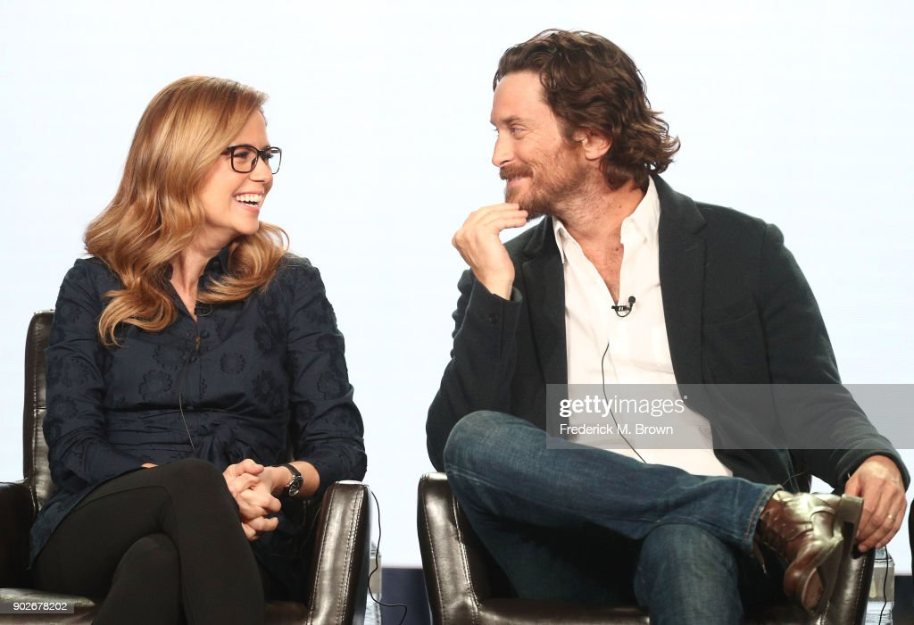 Actors Jenna Fischer (L) and Oliver Hudson of the television show Splitting Up Together speak onstage during the ABC Television/Disney portion of the 2018 Winter Television Critics Association Press Tour at The Langham Huntington, Pasadena on January 8, 2018 in Pasadena, California.