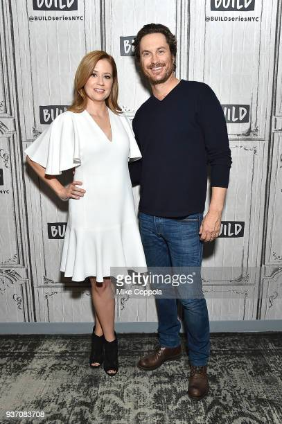 Actors Jenna Fischer and Oliver Hudson pose for a picture at Build Studio on March 23 2018 in New York City