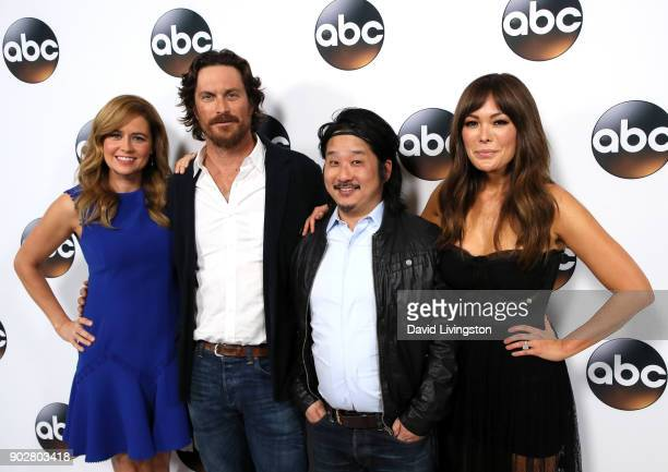 Actors Jenna Fischer Oliver Hudson Bobby Lee and Lindsay Price attend Disney ABC Television Group's TCA Winter Press Tour 2018 at The Langham...