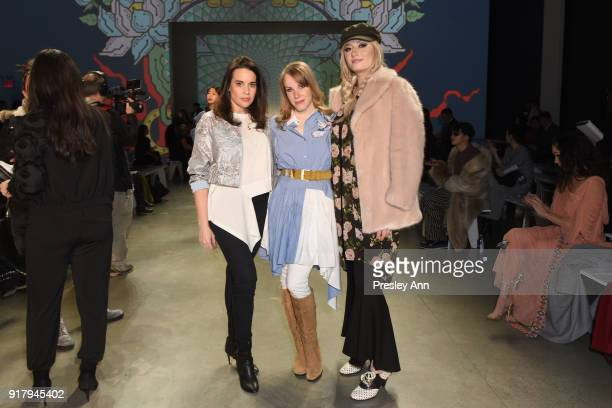 Actors Jenna Leigh Green Emma Myles and Francesca Curran attend the Vivienne Tam front row during New York Fashion Week at Spring Studios on February...
