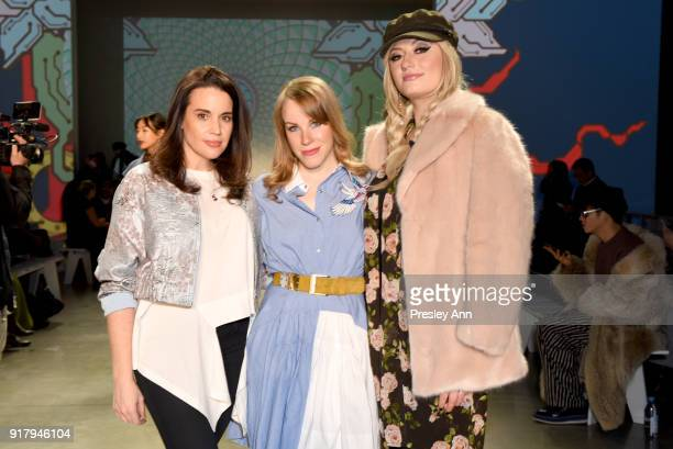 Actors Jenna Leigh Green Emma Myles and Francesca Curran attends the Vivienne Tam front row during New York Fashion Week at Spring Studios on...