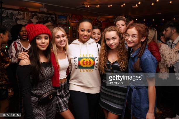 Actors Jenna Ortega Nia Sioux Jillian Shea Speader and Anna Cathcart attend YSBNow Holiday Dinner and Toy Drive at Buca di Beppo CityWalk on December...