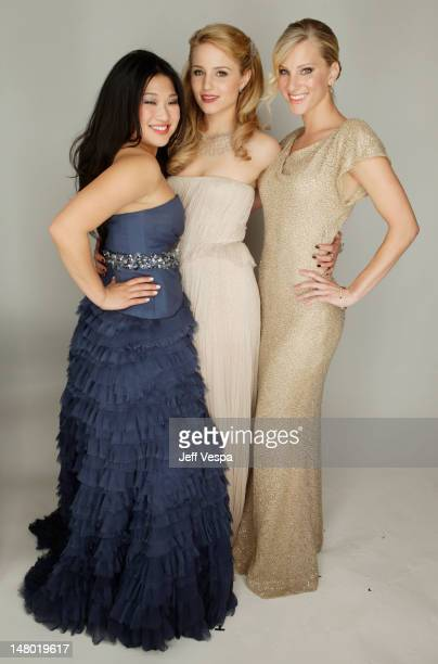 Actors Jenna Ushkowitz Dianna Agron and Heather Morris pose for a portrait backstage at the 68th Annual Golden Globe Awards held at The Beverly...