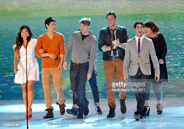 Actors Jenna Ushkowitz, Harry Shum Jr., Chord Overstreet, Cory Monteith, Darren Criss and Ashley Fink appear onstage at the 2011 Teen Choice Awards...