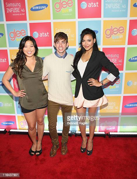 Actors Jenna Ushkowitz, Kevin McHale, and Naya Rivera at Gansevoort Park Lounge on June 15, 2011 in New York City.