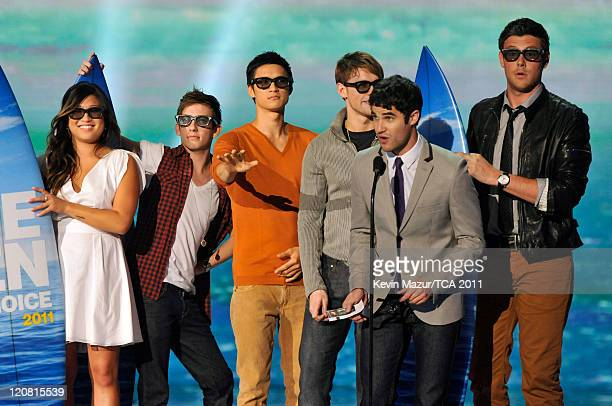 Actors Jenna Ushkowitz, Kevin McHale, Harry Shum Jr., Chord Overstreet, Darren Criss and Cory Monteith speak onstage at the 2011 Teen Choice Awards...
