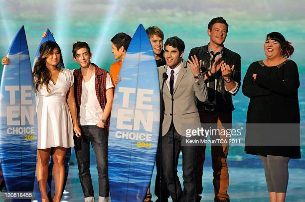 Actors Jenna Ushkowitz, Kevin McHale, Harry Shum Jr., Chord Overstreet, Cory Monteith, Darren Criss and Ashley Fink appear onstage at the 2011 Teen...