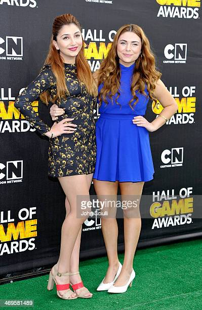 Actors Jennessa Rose and Julianna Rose attend Cartoon Network's fourth annual Hall of Game Awards at Barker Hangar on February 15 2014 in Santa...