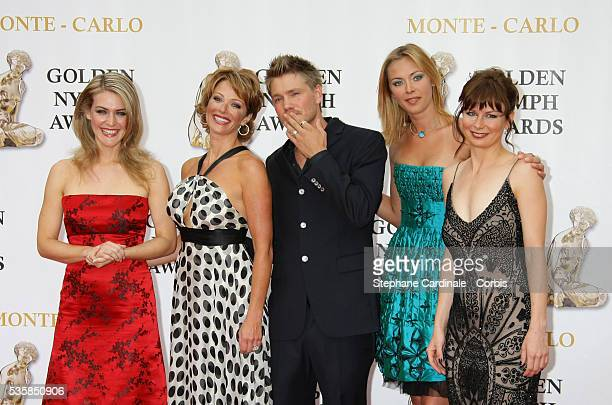 Actors Jenni Baird Lauren Holly Chad Michael Murray Kristanna Loken and Mary Lynn Rajskub arrive at the closing ceremony of the 47th annual Monte...