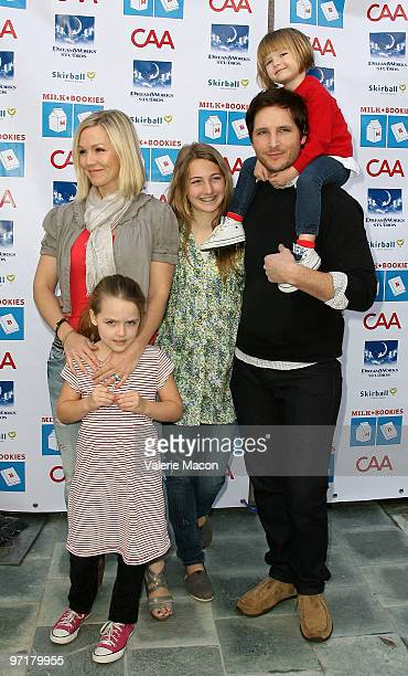 Actors Jennie Garth and Peter Facinelli and their daughters arrive at Milk Bookies 1st Annual Story Time Celebration at Skirball Cultural Center on...