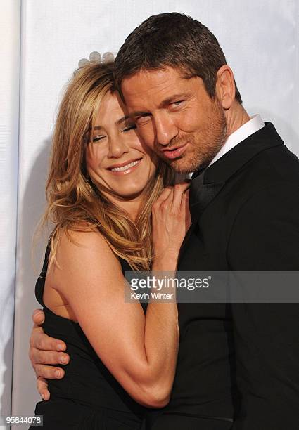 Actors Jennifer Aniston and Gerard Butler pose in the press room at the 67th Annual Golden Globe Awards held at The Beverly Hilton Hotel on January...