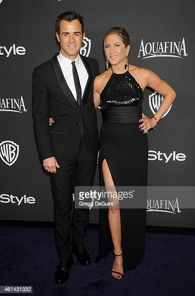 Actors Jennifer Aniston and Justin Theroux arrive at the 16th Annual Warner Bros. And InStyle Post-Golden Globe Party at The Beverly Hilton Hotel on...