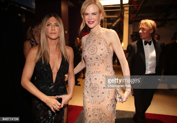 Actors Jennifer Aniston and Nicole Kidman pose backstage during the 89th Annual Academy Awards at Hollywood Highland Center on February 26 2017 in...