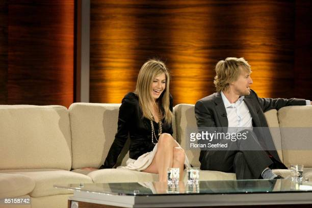 Actors Jennifer Aniston and Owen Wilson attend the Wetten dass...? show at the Messe Duesseldorf on February 28, 2009 in Duesseldorf, Germany.