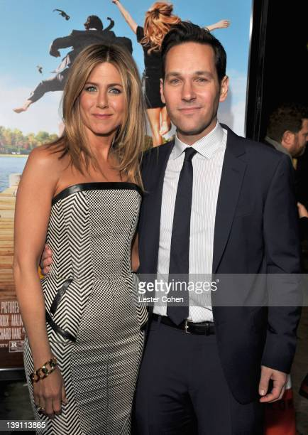 Actors Jennifer Aniston and Paul Rudd arrive at the Los Angeles premiere of Wanderlust at Mann Village Theatre on February 16 2012 in Westwood...