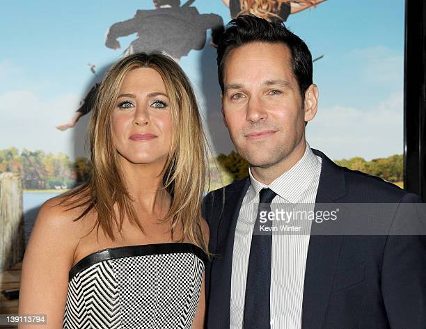 Actors Jennifer Aniston and Paul Rudd arrive at the premiere of Universal Pictures' Wanderlust held at Mann Village Theatre on February 16 2012 in...