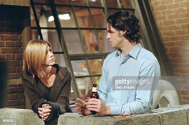 "Actors Jennifer Aniston as Rachel Greeen and Eddie Cahill as Tag in a scene on NBC's comedy series ""Friends."" Episode: ""The One Where Chandler..."