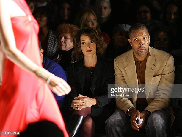 Actors Jennifer Beals and Eriq La Salle backstage and frontrow at Kevan Hall Spring 2008 collection during Los Angeles Mercedes Benz Fashion Week at...