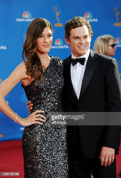 Actors Jennifer Carpenter and Michael C Hall arrive at the 62nd Annual Primetime Emmy Awards held at the Nokia Theatre LA Live on August 29 2010 in...