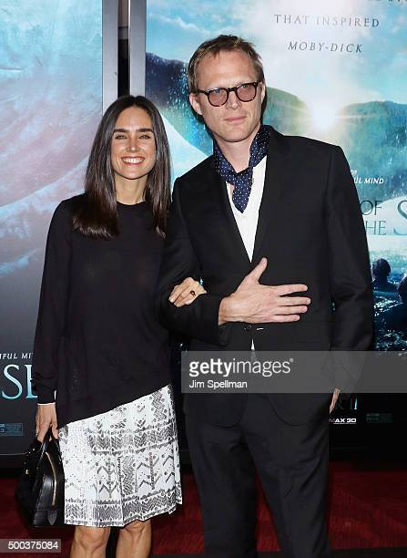 Actors Jennifer Connelly and Paul Bettany attend the In The Heart Of The Sea New York premiere at Frederick P Rose Hall Jazz at Lincoln Center on...