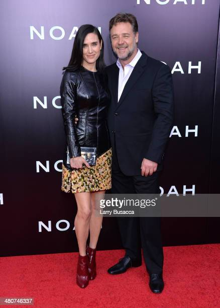 Actors Jennifer Connelly and Russell Crowe attend the New York premiere of Paramount Pictures' Noah at the Ziegfeld Theatre on March 26 2014 in New...