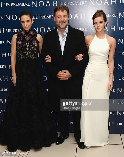 Actors Jennifer Connelly Russell Crowe and Emma Watson attend the UK Premiere of 'Noah' at the Odeon Leicester Square on March 31 2014 in London...