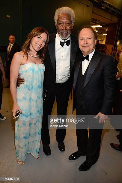Actors Jennifer Crystal Foley Morgan Freeman and Billy Crystal attend AFI's 41st Life Achievement Award Tribute to Mel Brooks at Dolby Theatre on...
