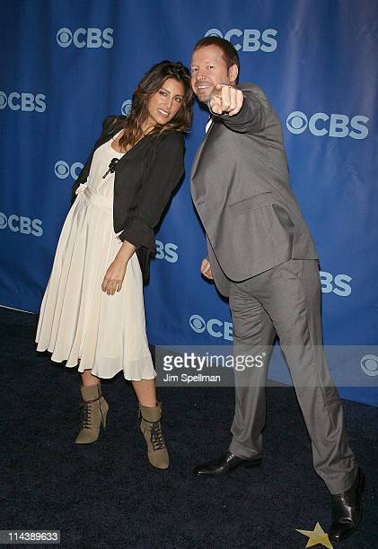 Actors Jennifer Esposito and Donnie Wahlberg attend the 2011 CBS Upfront at The Tent at Lincoln Center on May 18 2011 in New York City