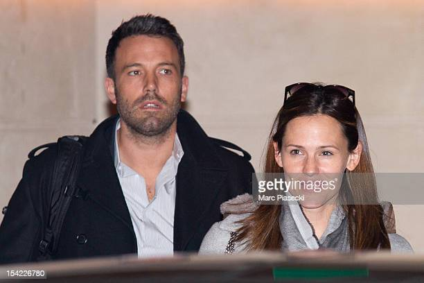 Actors Jennifer Garner and Ben Affleck are seen leaving the 'Park Hyatt Vendome' hotel on October 16 2012 in Paris France