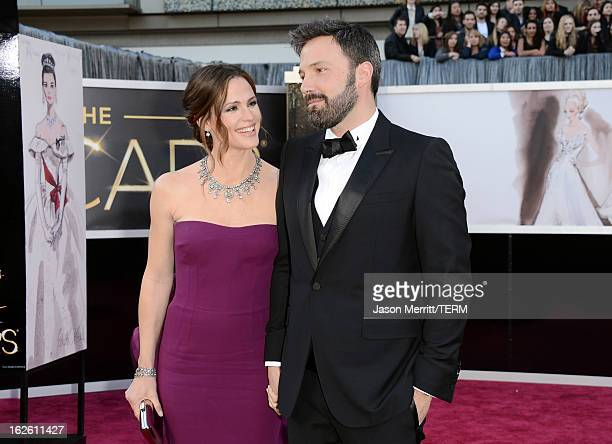Actors Jennifer Garner and Ben Affleck arrive at the Oscars at Hollywood Highland Center on February 24 2013 in Hollywood California