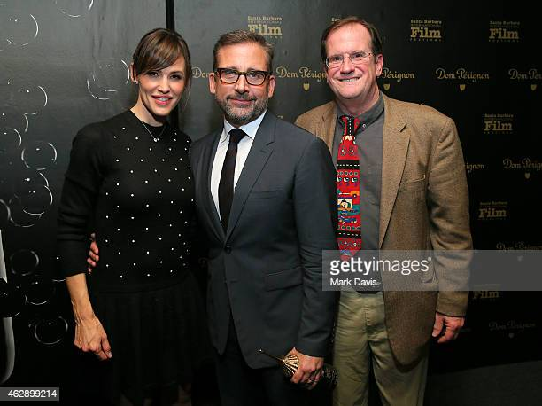 Actors Jennifer Garner Steve Carell and moderator Pete Hammond attend the 2015 Outstanding Performer of the Year Award at the 30th Santa Barbara...