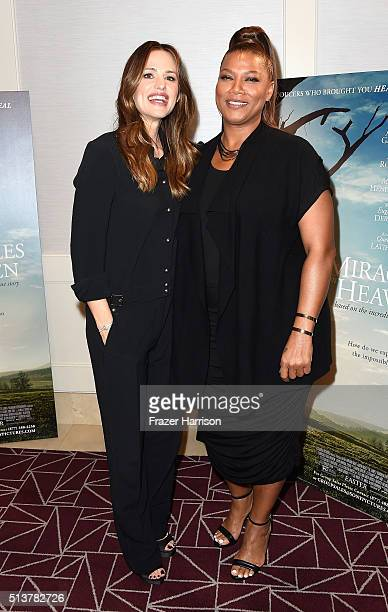 Actors Jennifer Garnerand Queen Latifah attend Sony Pictures Releasing's Miracles From Heaven Photo Call at The London Hotel on March 4 2016 in West...