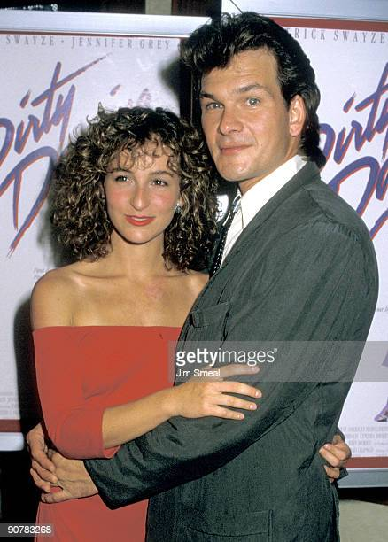 Actors Jennifer Grey and Patrick Swayze attend the premiere of Dirty Dancing at the Gemini Theater on August 17 1987 in New York City