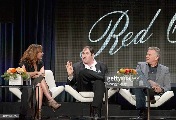 Actors Jennifer Grey Richard Kind and Paul Reiser speak onstage during the 'Red Oaks' panel discussion at the Amazon Studios portion of the 2015...