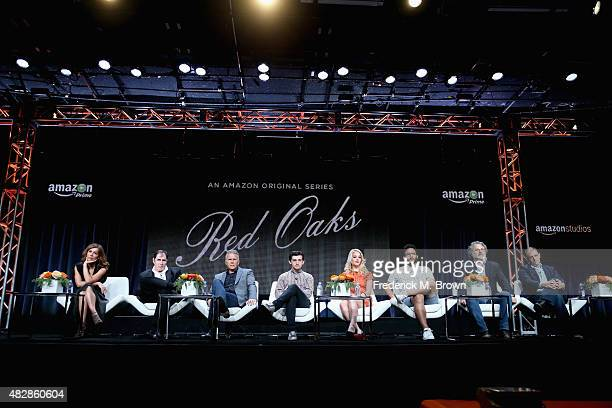 Actors Jennifer Grey Richard Kind Paul Reiser Craig Roberts Gage Golightly Ennis Esmer creator/writers Gregory Jacobs and Joe Gangemi speak onstage...