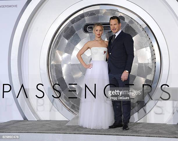 """Actors Jennifer Lawrence and Chris Pratt arrive at the premiere of Columbia Pictures' """"Passengers"""" at Regency Village Theatre on December 14, 2016 in..."""