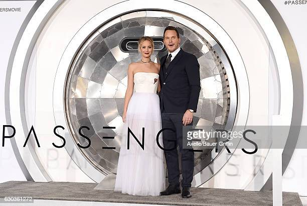 Actors Jennifer Lawrence and Chris Pratt arrive at the premiere of Columbia Pictures' 'Passengers' at Regency Village Theatre on December 14, 2016 in...