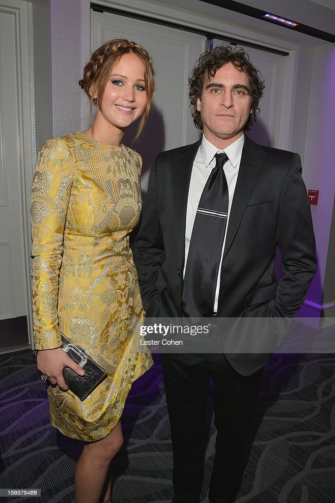 Actors Jennifer Lawrence and Joaquin Phoenix attend the 38th Annual Los Angeles Film Critics Association Awards at InterContinental Hotel on January 12, 2013 in Century City, California.