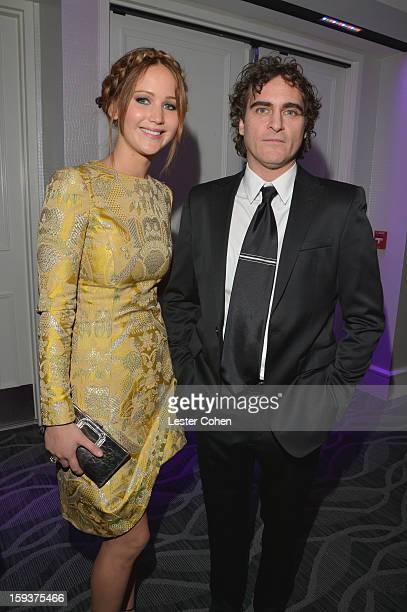 Actors Jennifer Lawrence and Joaquin Phoenix attend the 38th Annual Los Angeles Film Critics Association Awards at InterContinental Hotel on January...