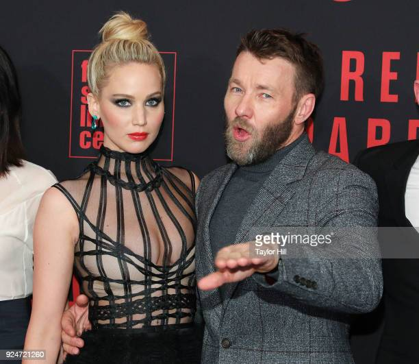 Actors Jennifer Lawrence and Joel Edgerton attend the 'Red Sparrow' premiere at Alice Tully Hall at Lincoln Center on February 26 2018 in New York...