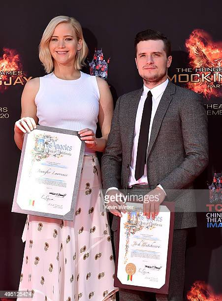 """Actors Jennifer Lawrence and Josh Hutcherson attend Lionsgate's """"The Hunger Games: Mockingjay - Part 2"""" Hand and Footprint Ceremony at TCL Chinese..."""