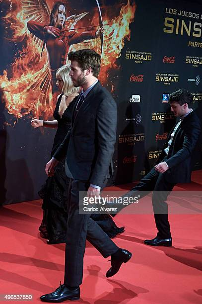 Actors Jennifer Lawrence Liam Hemsworth and Josh Hutcherson attend The Hunger Games Mockingjay Part 2 premiere at the Kinepolis Cinema on November 10...