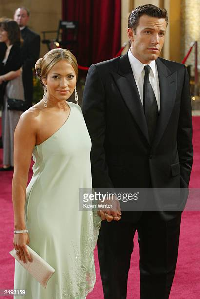 Actors Jennifer Lopez and Ben Affleck attend the 75th Annual Academy Awards at the Kodak Theater on March 23 2003 in Hollywood California Lopez and...