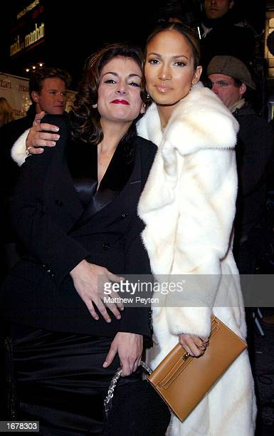 Actors Jennifer Lopez and costar Marissa Matrone attend the New York Film Premiere of Maid In Manhattan at the Zeigfeld Theater on December 8 2002 in...