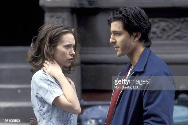 Actors Jennifer Love Hewitt and Diego Serrano On Location for the Taping of the Television Show 'Time of Your Life' in New York City New York