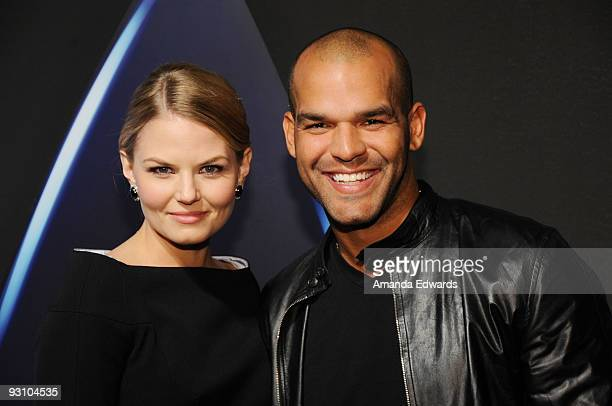 Actors Jennifer Morrison and Amaury Nolasco arrive at the Star Trek DVD and BluRay release party at the Griffith Observatory on November 16 2009 in...