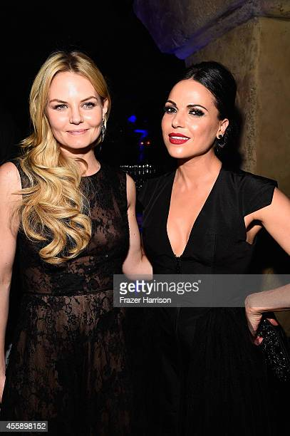 Actors Jennifer Morrison and Lana Parrilla attend the Screening Of ABC's Once Upon A Time Season 4 after Party at the Roosevelt Hotel on September 21...